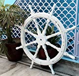 Nagina International Nautical Handcrafted Wooden Ship Wheel - Home Wall Decor (24 Inches, Antique White)