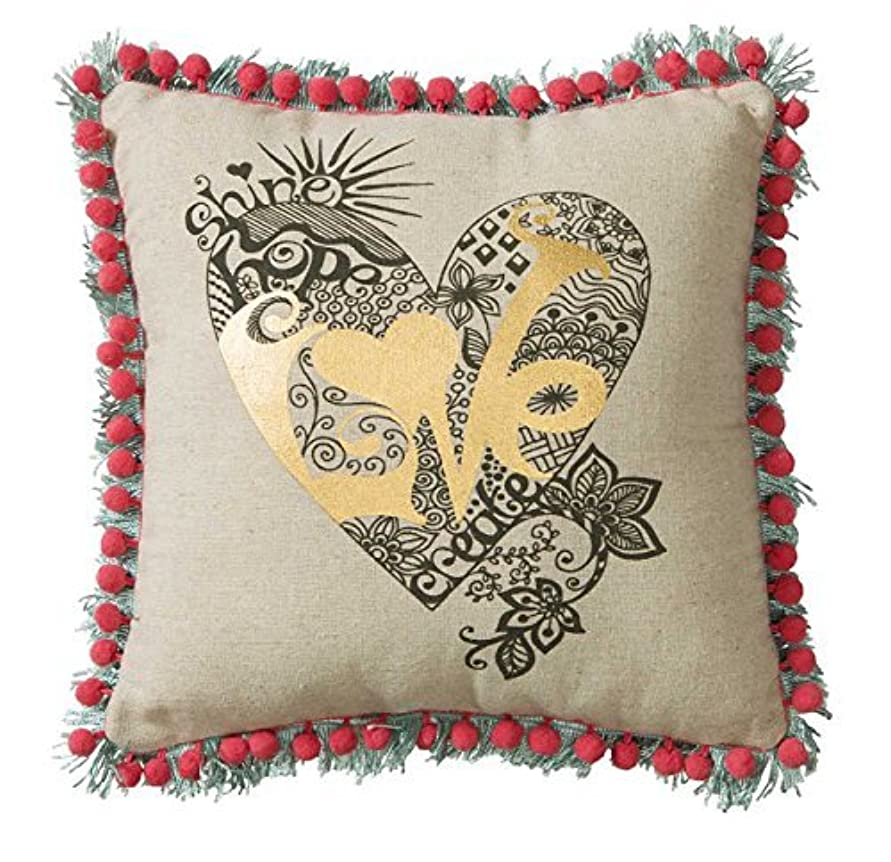 強化時刻表滅多C.R. Gibson Decorative Pillow,100% Linen Pillow with Pompom & Fringe Trim, Reversible with Beautiful Design On Back, Measures 11