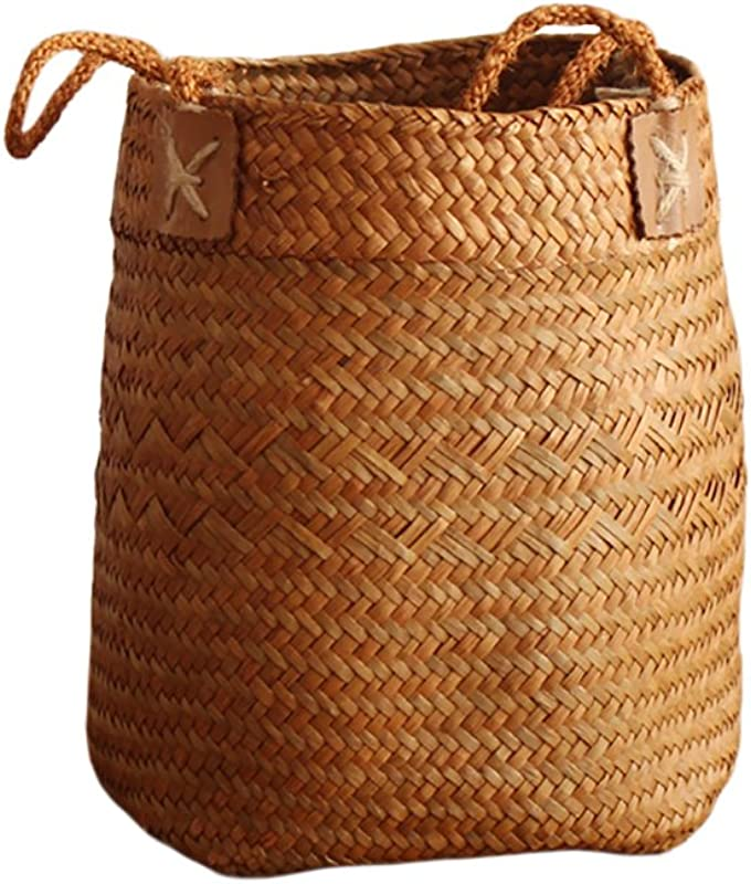 Per Hand Woven Basket Cylindrical Natural Seagrass Storage Tote Belly Organizer With Handle For Cookies Snacks Toys Laundry Picnic Flower Plant Pot Fruits Yellow L 19 25cm