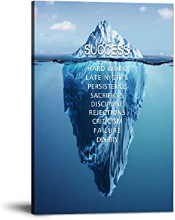 "Success Inspirational Wall Art Motivation Entrepreneur Quotes Canvas Painting Iceberg Pictures Posters and Prints Artwork Modern Inspiring Office Decor Living Room Gym Decorations Framed (12""Wx18""H)"