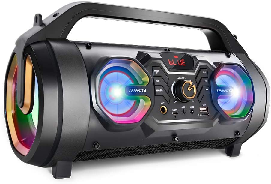 Bluetooth Speakers, 30W Portable Bluetooth Boombox with Subwoofer, FM Radio