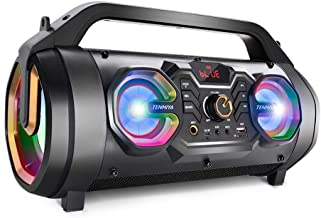 Bluetooth Speakers, 30W Portable Bluetooth Boombox with Subwoofer, FM Radio, RGB Colorful..