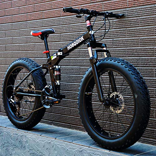 AISHFP Fat Tire Mountain Bike, Doppio Freno a Disco in Acciaio/High-Carbonio Telaio Bici Cruiser Mens, 26 inch Beach motoslitta Biciclette, Alluminio Lega,Nero,24 Speed