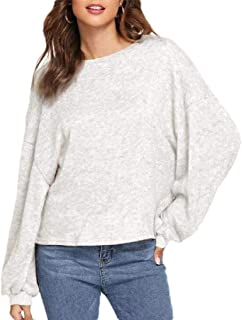 Womens Bat Sleeve Shirt Round Neck Knit Thicken Pullovers Sweaters Tops