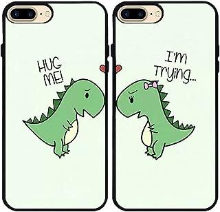iPhone 7 Plus/iPhone 8 Plus Case,Cartoon Cute Little Dinosaur Couple Lovers Best Friends Forever Rubber Phone Cover Case for iPhone 7 Plus/iPhone 8 Plus 5.5 inch