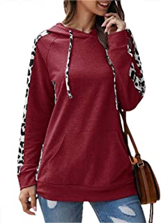 Imysty Womens Casual Long Sleeve Hoodies Pullover Sweatshirt Leopard Print Drawstring Tops with Pocket