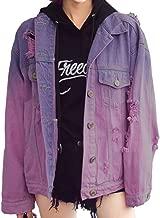 Women's Harajuku style distressed denim jacket