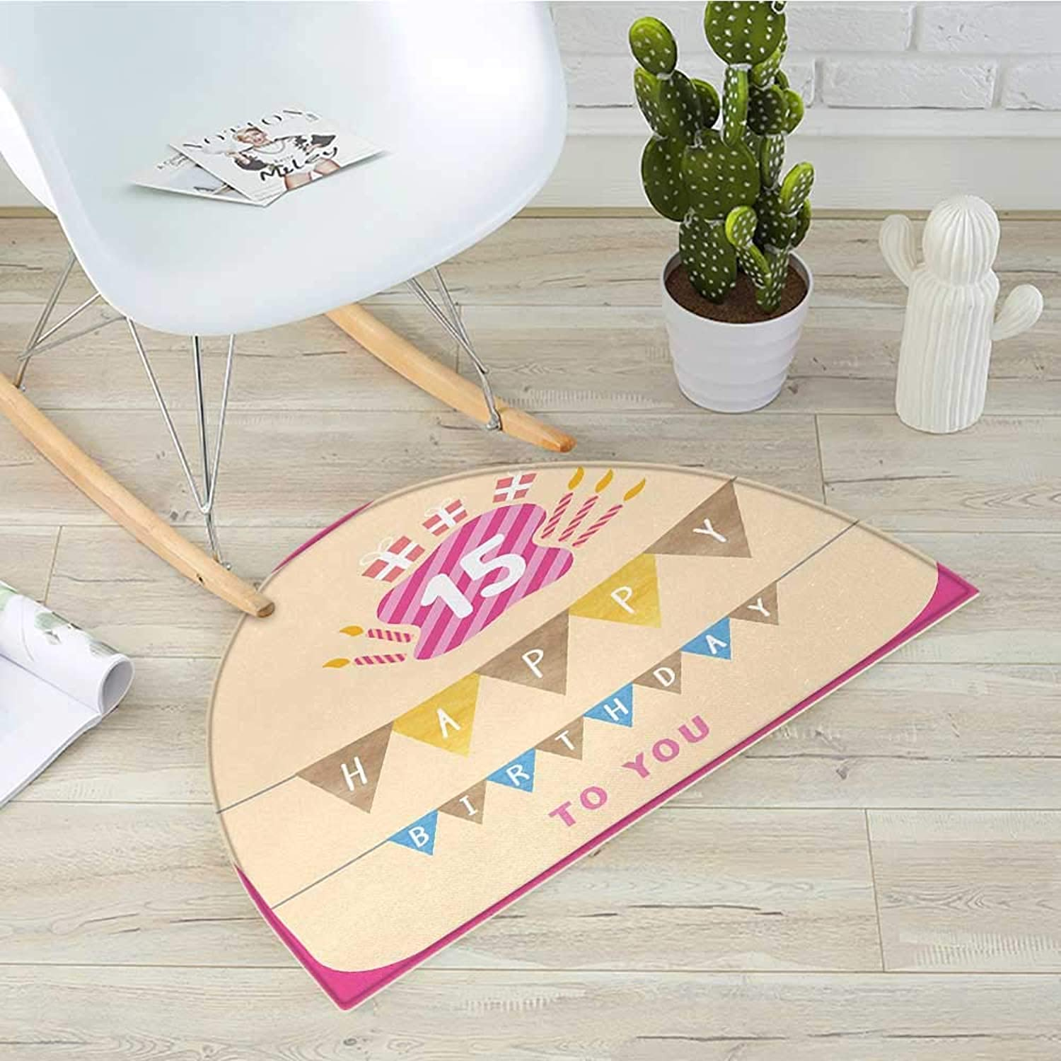 15th Birthday Semicircle Doormat Pastel colord Framework with Flags Presents and Candles Greeting Themed Halfmoon doormats H 39.3  xD 59  Multicolor