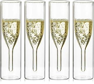 Sziqiqi Verres à Flûte à Champagne en Cristal à Double Paroi, Classics Tulip Goblet, Tasses en Verre Transparent, Verres S...