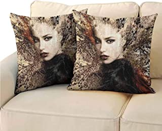 QIAOQIAOLO Pack of 2 Square Pillowcase Nature Easy to disassemble 18x18 inch Woman Portrait Double Explosure with Tree Wild Sensual Natural Artwork Brown Red and Black