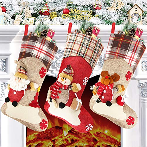 Christmas Stocking Set of 3, 18' Large Xmas Sock Sack Gift Bag for Tree Decoration Christmas Ornament Candy Pouch Bag Theme Santa, Snowman, Reindeer
