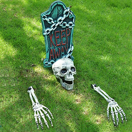 "Halloween Skeleton Stakes with 17"" Graveyard Tombstone Set Headstone Decorations & Ground breaker Set for Best Halloween Yard Decorations Outdoor"