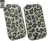 emartbuy Motorola Atrix Gamme Classique Faux Suede Leopard Gris Faites Glisser Pouch/Case/Sleeve/Holder (Taille XL) Avec Rabat...