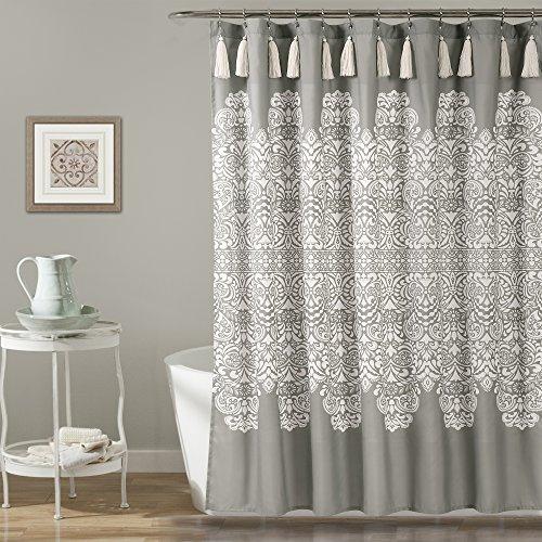 "Lush Decor, Gray Boho Medallion Shower Curtain-Fabric Bohemian Damask Print Design with Tassels, 72"" x 72"""
