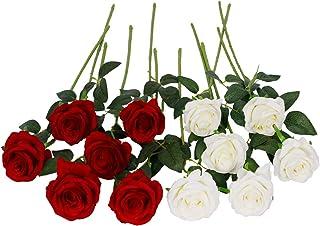 Floralsecret 12 Pièces Roses Artificielles Bouquet de Fleurs Faux Soie Fleurs Home Wedding Party Decor(Blanc, Rouge)