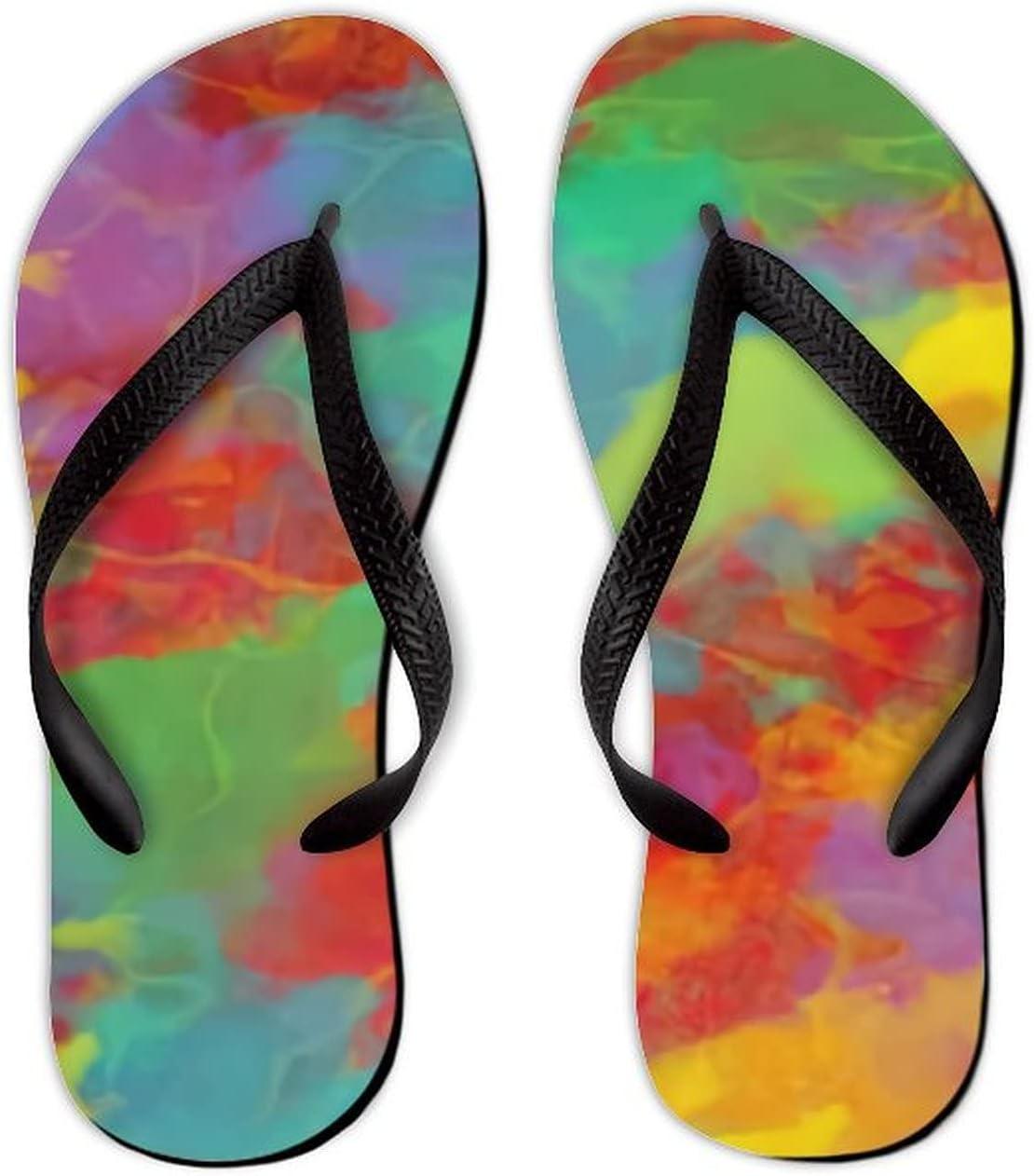 Summer Flip Flops for Men Women Abstract Background Soft Lightweight Non Slip Sandals for Shower Beach Pool Bathroom Flat 10.5