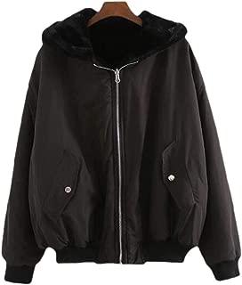 Womens Pockets Zipper Warm Hooded Loose Casual Long Sleeves Overcoats Outwear Tops
