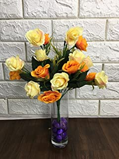 Petalshue Fabric Artificial Rose Flower Bunch for Home, Office, Garden, Living Room, Table Top Decor (20 Flower Heads, 10 ...