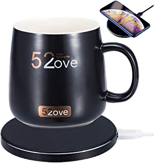 Bemagnificar 2 in 1 Wireless Heating Mug Warmer & Charger,Support All Devices Enables Qi Standard Intelligent Constant Temperature (about 122℉/50℃) for Home & Office (Black)