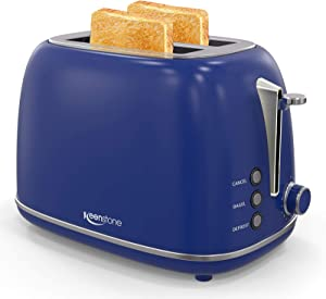 2-Slice Toasters Stainless Steel Retro Toaster with Extra Wide Slots (Blue)