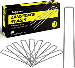 Angiemic 50 Pack 8 Inch Galvanized Landscape Staples 11 Gauge Garden Stakes Ground Staples Sturdy Rustproof Landscaping Staples Sod Pins for Anchoring Weed Barrier Landscape Fabric Ground Cover Fence