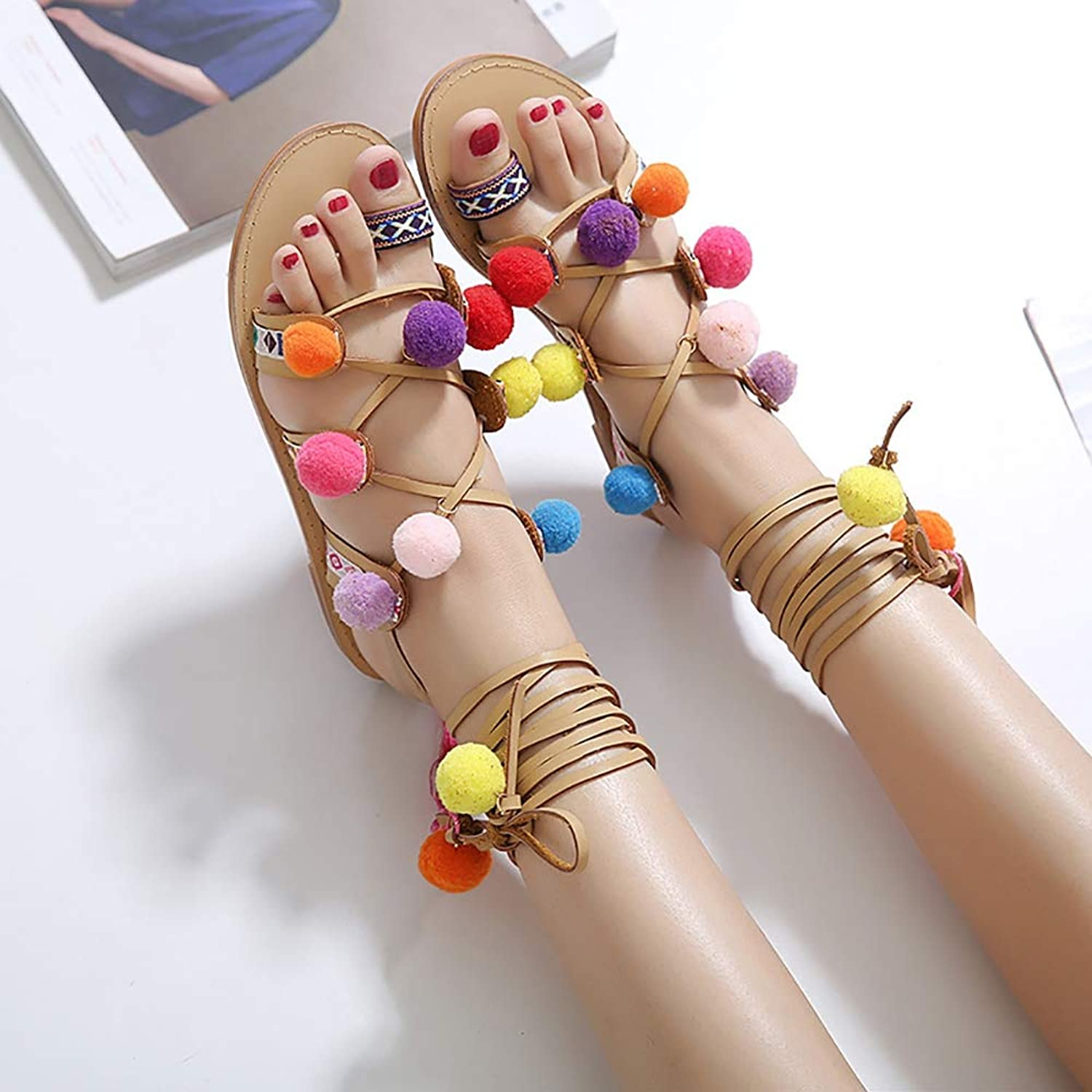 Women's Beach Sandals,colorful Balls with Straps Cute Sandals shoes Open Toe Perforated Lace up Elastic Side Stacked Heel Sandal,38