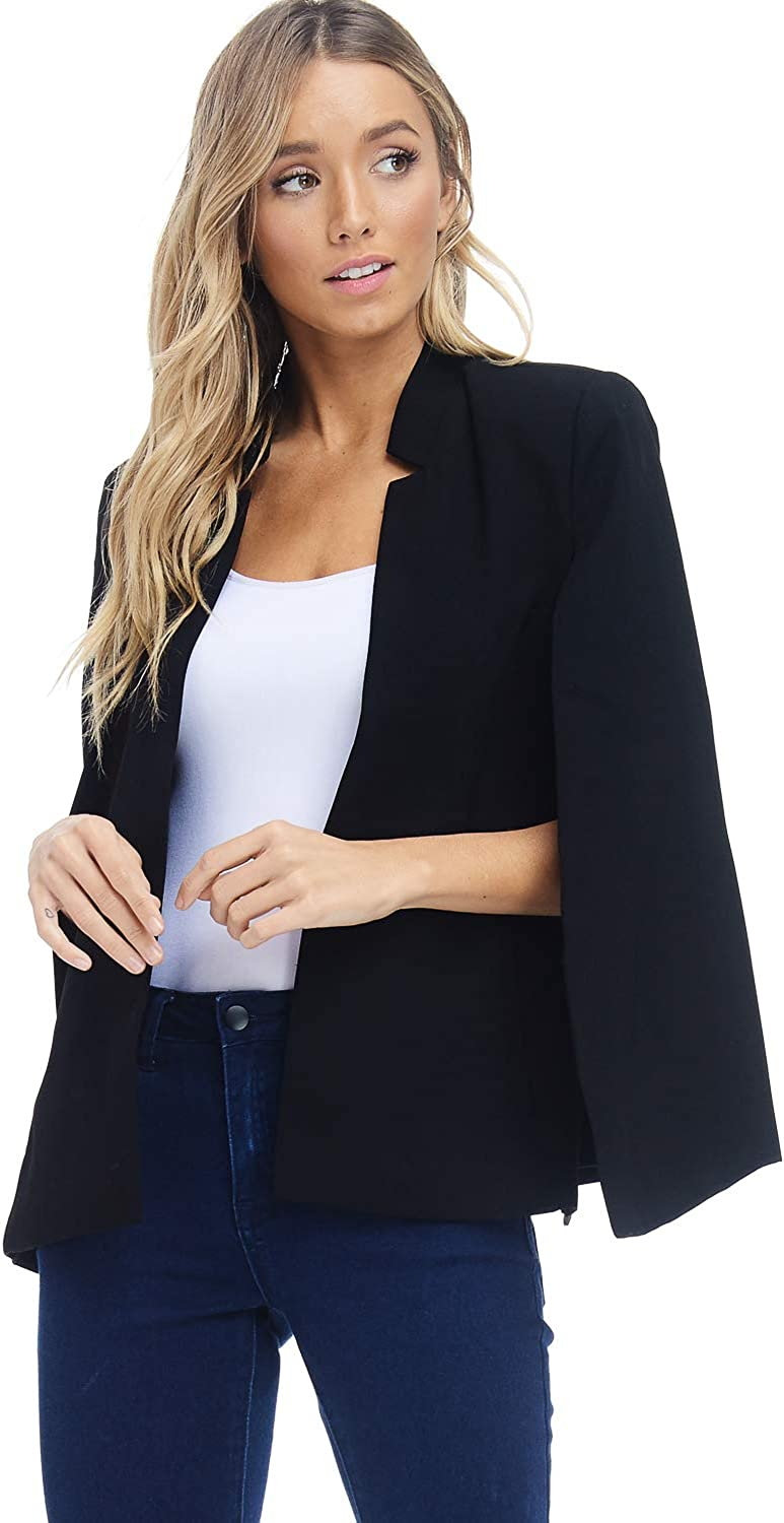 Alexander + David A+D Womens Woven Structured Cape Blazer Suit Jacket w Pockets
