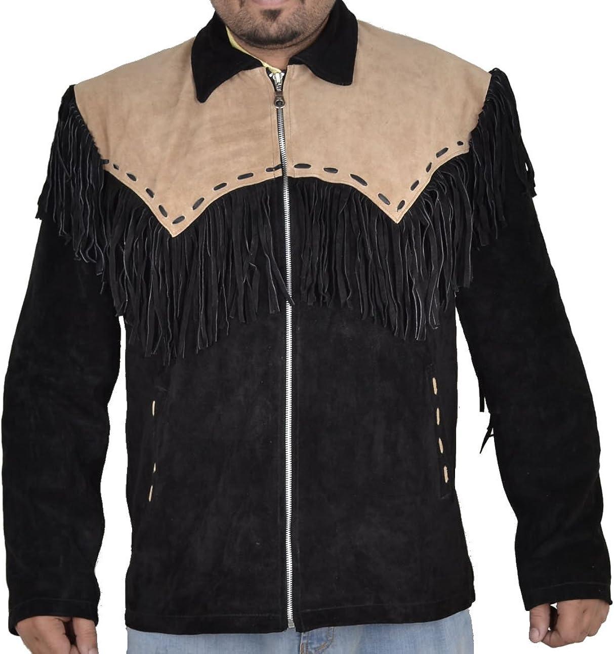 coolhides Men's Cowboy Suede Leather Jacket Black with Brown Patch
