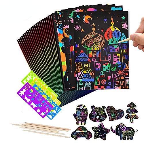 Scratch Art Paper, 50 Obras De Arte De Raspado De Arco Iris y Manualidades Infantiles Papel Rayado Negro, con 5 Estilográficas De Madera, 4 Reglas De Dibujo(18.5 * 26 Cm)