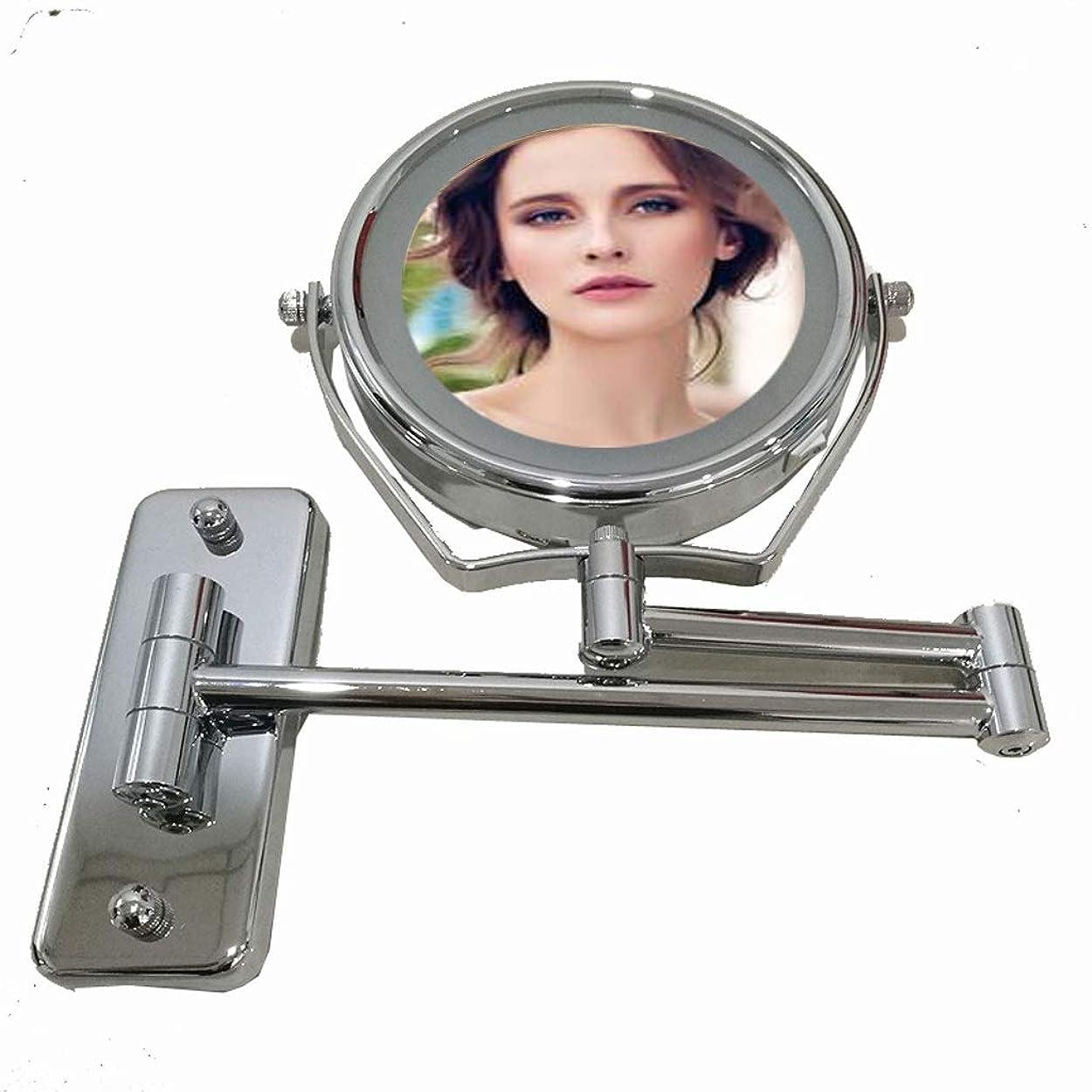 価値から動脈照明付き化粧鏡 ウォールマウント化粧台ミラー付きライトLED化粧鏡True image + 7x倍率両面回転式バスルームミラー、シェービングウォールミラー、クローム 化粧鏡