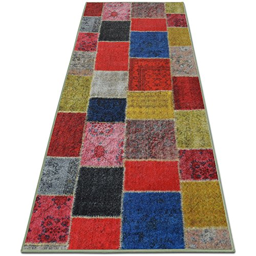 casa pura Tapis Vintage Tapis Multicolore | Polyamide résistant | Entretien Facile | 18 Tailles | Monsano, 80x200cm