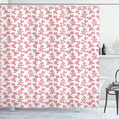 ABAKUHAUS Varken Douchegordijn, Cartoon Smiling Dieren, stoffen badkamerdecoratieset met haakjes, 175 x 180 cm, Pale Pink White