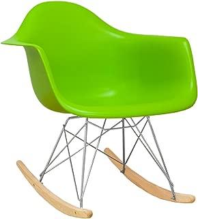 Ergo Furnishings Mid-Century Eiffel Tower Molded Plastic Rocker Rocking Chair, Green