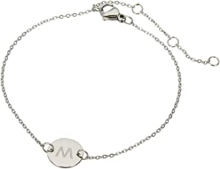 Stainless Steel Engraved Initial Bracelet Adjustable, 7.87