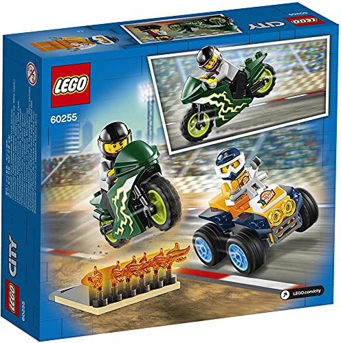 LEGO CityNitroWheels TeamAcrobatico, Playset con Quad ATV, Motocicletta e Rampa di Lancio con Fiamme, 60255