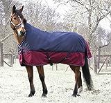 Outdoordecke TYREX 1200 D High Neck Equi-Theme 150 cm wasserdicht dunkelblau/weinrot mit Kreuzgurten | Pferdedecke