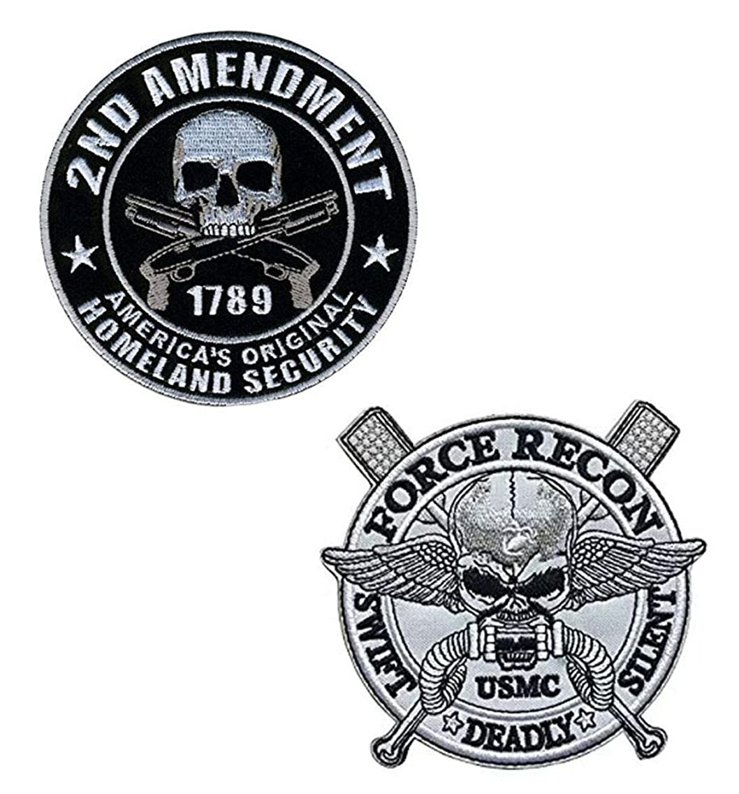Antrix 2 Pieces Military Patches Full Embroidered America's Original Homeland Security 2nd Amendment Support Patch (Φ 4
