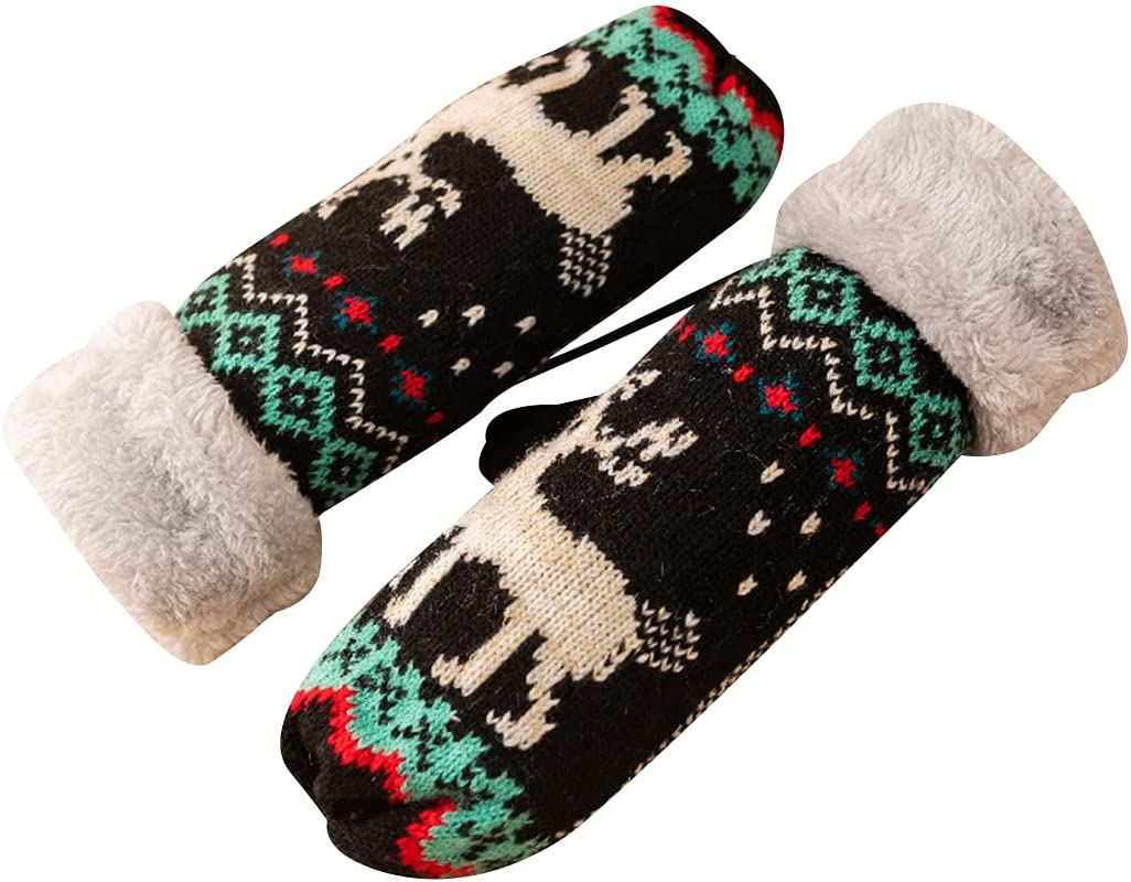 Licogel Women Knit Mittens Cute Winter Mittens Warm Mittens with Lanyard for Christmas Protective Thickened Lovely