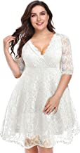 Pinup Fashion Women's Lace V Neck Plus Size Dresses Bridal Wedding Party