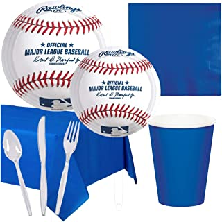 Major League Baseball MLB Sport Birthday Party Theme Supplies Pack Set Serves 16 – Luncheon and Dessert Paper Plates, Napkins, Table Cover and Cutlery – Disposable Party Supplies for Food and Cake