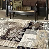 SUPERIOR Pastiche Contemporary Floral Patchwork Polypropylene Indoor Area Rug or Runner with Jute Backing, 8' X 10', Beige