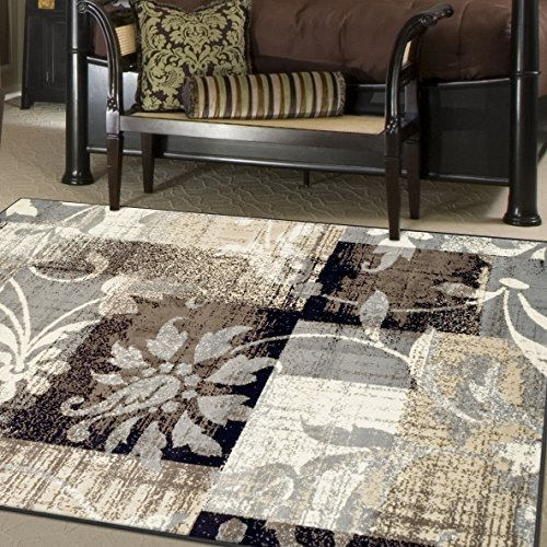 SUPERIOR Pastiche Contemporary Floral Patchwork Polypropylene Indoor Area Rug or Runner with Jute Backing, 6' X 9', Beige