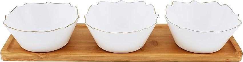 Opalware Serving Bowl Set, White & Brown, BD-OPL-3R, 4 Pieces