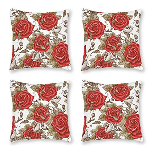 None-brands Pillow Covers Throw Cushion Cover Look Decorative Pillowcases For Sofa 18 X 18 Inch Set Of 4 No Pillow Insert Rose Family Garden Roses Pattern
