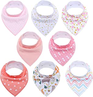 VOSVOC Baby Bandana Drool Bibs for Girls 8 Pack Baby Girl Bibs for Drooling and Teething Organic Cotton Super Absorbent Hypoallergenic Soft Baby Shower Gift Set