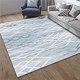 Jiaosa Teppich Wohnzimmer blau Salon Teppich blau Fuzzy minimalistisches Muster Anti-Dirty Teppich...