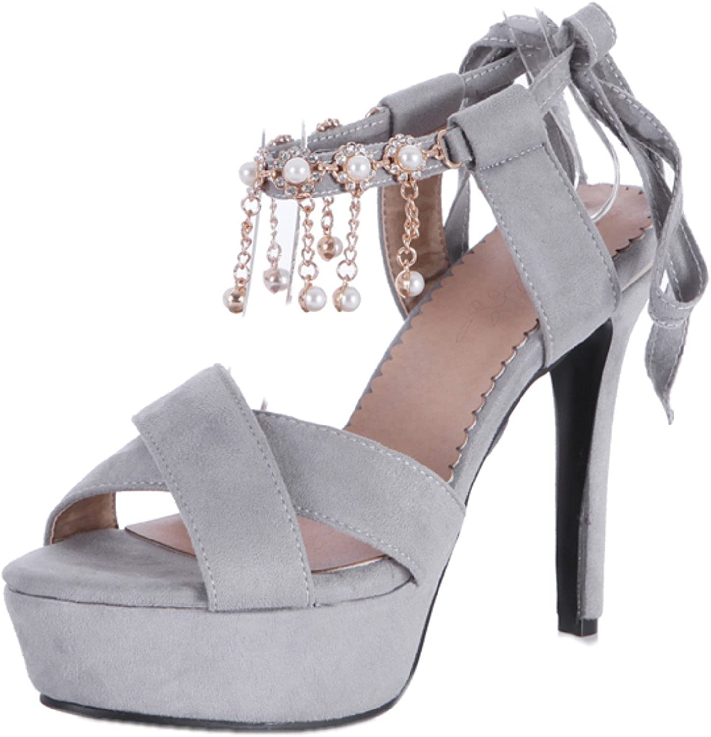 Rongzhi Womens Platform High Heels Stilettos Heeled Sandals Ankle Strap Lace Up Prom Party shoes Open Toe