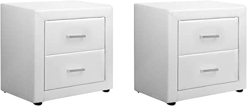 Artiss Bedside Tables Set of 2, Leather Upholstered Bedside Chest of Drawers Side Tables, White