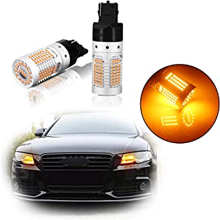 GTINTHEBOX 7440 T20 W21W WY21W Amber Led Bulbs No Need Load Resistor Anti Hyper Flash Canbus for Car Truck Front or Rear Turn Signal Blinker Lights, 2pcs