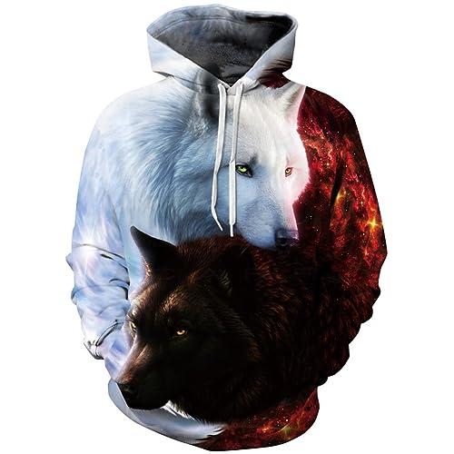 b471de941751 EmilyLe Men s Galaxy Outdoor Hoodies 3D Animal Print Pullover Long Sleeve  Jumpers Graphic Sweatshirt